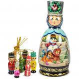 "Exclusive Handmade and Hand Painted Boyarinya Matryoshka Korobeynik, 7 pcs, 8.5"""