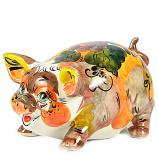 "Symbol of the New 2019 Year – Big-Eared Mashka Pig Porcelain Majolica Figurine, 5"" x 3.5"" x 2.75"" (Assorted Colors)"