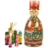 "Handmade New Year Matryoshka Korobeynik ""Barin"" with 7 Figurines, 8.5"""
