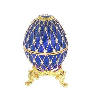 Easter Gift Russian Style Easter Egg Trinket Box (5 rows of rhinestones) BLUE, 2.5