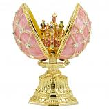 "Russian Style Egg Mesh Pattern with Crystals and Saint Basil's Cathedral (pink), 1.5"" (HE0897A-1+HJF1871)"