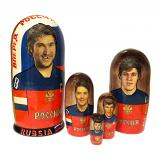 "Russia National Ice Hockey Team Nesting Dolls, 5 pcs, 6.75"" / 17 cm"