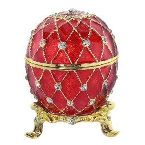 Russian Style Egg Trinket Box with Crystals RED, 2.25