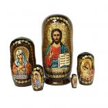 """Christ Almighty"" Russian Icon Handmade Nesting Doll, 4"" (10.5 cm), 5 pcs"