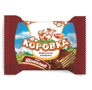 Wafer Candy Cow (Korovka) with Chocolate flavor, 0.5 lb / 0.22 kg