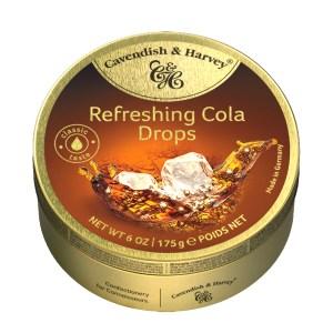 Hard Candy Drops Refreshing Cola, Cavendish and Harvey, Tin Can, 175g/ 0.39 lb
