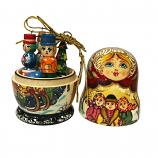 Exclusive Handmade and Hand Painted Matryoshka Korobeynik (red and yellow), 5 pcs, 4.5""