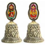 "Metal Embossed Bell with Colored Matryoshka Insert (bronze), 3.75"" / 9.5 cm"