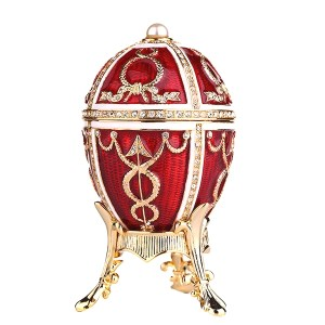 Easter Gift Russian Style Easter Egg Jewelry Box with Arrows RED, 2.5