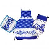 Kitchen Textile Gift Set Gzhel - Potholder, Oven Mitt and Apron, 3 pcs