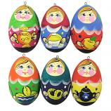 Russian Matryoshkas Wooden Handmade Christmas Tree Toys Set, 6 pcs, 2""