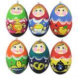 "Russian Matryoshkas Wooden Handmade Christmas Tree Toys Set, 6 pcs, 2"""