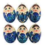 "Christmas Ornaments - Handmade Gzhel Wooden Balls, set of 6, 2"""