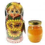 Decorative Handmade Wooden Matryoshka with Sunflowers w/ Natural Organic Flower Honey, 10.14 oz / 300 ml