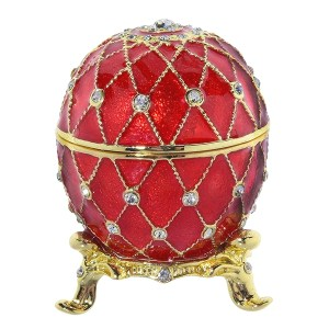 Eater Gift Russian Style Easter Egg Trinket Box with Crystals RED, H 2