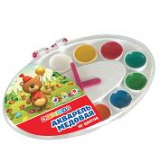 Set of watercolor honey paints in a plastic box «Clock», 12 colors, Nevskaya Palitra