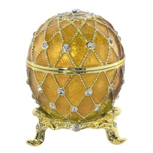 Easter Gift Russian Style Easter Egg Jewelry Box with Crystals GOLDEN, H 2