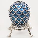 "Exquisite Faberge Style Egg ""Pine Cone"" with the Clock LIGHT BLUE, 3.62"" / 9.2 cm (HJD1160CL-2)"