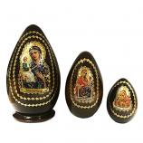 """Jerusalem Holy Mother of God"" Russian Icon Easter Small Nesting Egg, 5.5"" (15 cm), 3 pcs"