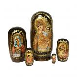 """Vatopedi Holy Mother of God (Joy and Comfort)"" Russian Icon Handmade Nesting Doll, 4"" (10.5 cm), 5 pcs"