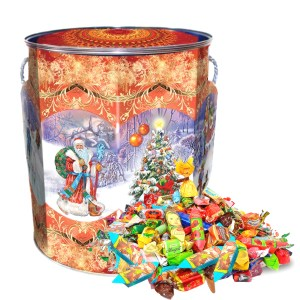 Sweet Christmas Gift Russian Candy, Surprise, Tin Pack, 0.9 kg/ 2 lbs