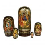 """Trinity (The Hospitality of Abraham)"" Russian Icon Handmade Nesting Doll, 4"" (10.5 cm), 5 pcs"