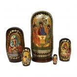 """""""Trinity (The Hospitality of Abraham)"""" Russian Icon Handmade Nesting Doll, 4"""" (10.5 cm), 5 pcs"""