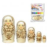 Matryoshka with Samovar Art Kit with Watercolor, 5 pcs, 5""