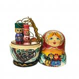 Exclusive Handmade and Hand Painted Matryoshka Korobeynik (red and blue), 5 pcs, 4.5""
