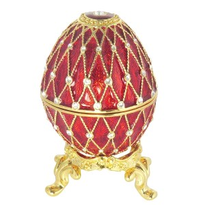 Eater Gift Russian Style Easter Egg Trinket Box (5 rows of rhinestones) RED, 2.5