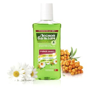 Forest Balm Gum Disease Preventing Triple Effect Herbal Mouthwash with Chamomile Extract and Birch Juice, 8.45 oz / 250 ml