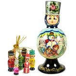 "Matryoshka Barynya ""Snowman"" with 7 Figurines (New Year Tree Ornaments), 9"""