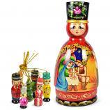 """Handmade Matryoshka Korobeynik Barynya """"The Birth of Jesus Christ"""", 8.5"""""""