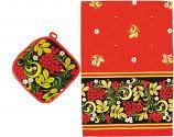 Khokhloma Souvenir Set of 2 - Potholder and Kitchen Towel  (A20009)