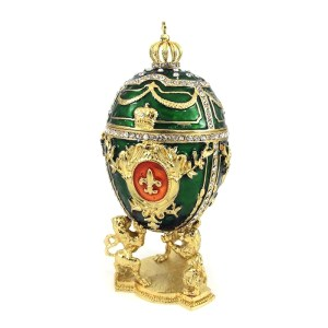 Green Russian Style Egg Trinket Box with Lions, 3.5
