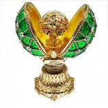 """Faberge Style Opening Egg with a Bouquet (green), 1.5"""" (HE0897M-3+HE1837M)"""