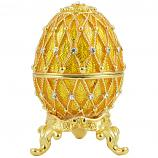 "Russian Style Easter Egg Trinket Box (5 rows of rhinestones) GOLDEN, 2.5"" / 6.5 cm (JD1036B-5)"