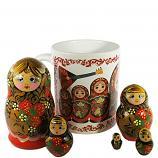 Gift Set - Russian Nesting Doll Matryoshka (5pcs) with Ceramic Coffee Mug