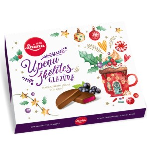 Blackcurrant Jelly Slices Dark Chocolate Covered 52% cocoa, Laima, 215 g / 0.47 lb