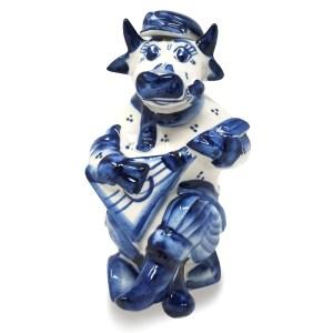 Symbol of the Year Bull Shtof with Balalaika, Gzhel, 10cm/ 3.94 inches