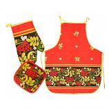 Khokhloma Textile Gift Set - Potholder, Oven Mitt and Apron, 3 pcs