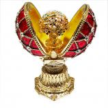 "Faberge Style Opening Egg with a Bouquet (red), 1.5"" (HE0897M-1+HE1837M)"