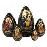 """The Unfading Blossom"" Russian Icon Handmade Nesting Egg, 7"" (19 cm), 5 pcs"