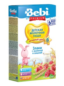 Bebi Wheat Porridge with Raspberry and Cherry, 7.05 oz / 200 g