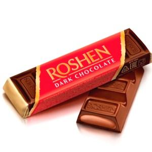 Roshen Dark Chocolate Bar with Fudge Chocolate Filling, 1.52 oz / 43 g