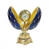 "Faberge Egg Box with the Clock Decorated with Mesh Pattern and Crystals (blue), 4.5"" / 11 cm (HJD0777-3+HF001)"