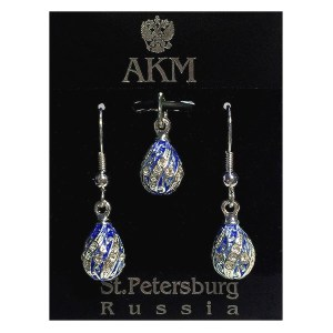 Russian Style Pendant and Earrings Jewelry Set