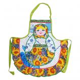 Russian Style Apron/ Sunflower and Matryoshka Handmade