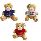 "Key Chain Plush Bear in a T-shirt ""I Love Russia"", 4"" / 9 cm"