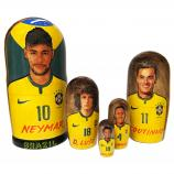 "Neymar and Brazil National Football Team Nesting Doll (lacquer), 5 pcs, 6.75"" / 17 cm"